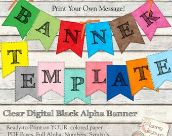 Printable Party Banner, Instant Download Graduation Garland, Alphabet Pennants, custom bunting party decor, birthday, wedding, baby showers