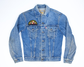 Vintage Levis Jean Jacket S - 70 Levi's Denim Jacket Men's Small - Speleological Society Patch - Two Pocket Jean Jacket - Caving Caves Cave