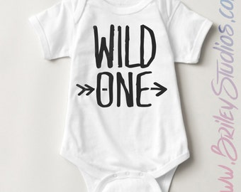 Wild One Newborn Baby One Piece, Birth Announcement, Coming Home Outfit, Personalized Baby Shower Gift, Gender Neutral, First Birthday
