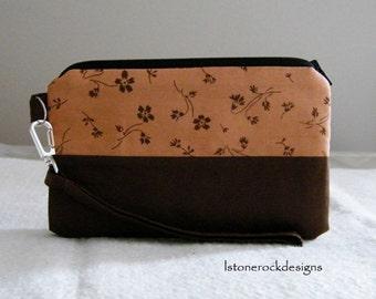 Brown floral pattern wristlet