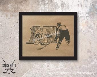 Hockey Ink Sketch Poster Print
