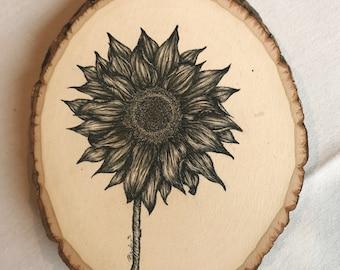 Sunflower on Wood Round