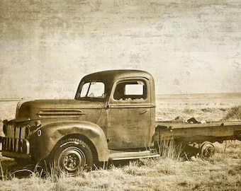 Ford Truck Photography, Ford truck, vintage truck, primitive, rustic, weathered patina, sepia, Gift for Men, Rustic Home Decor, Fine Art