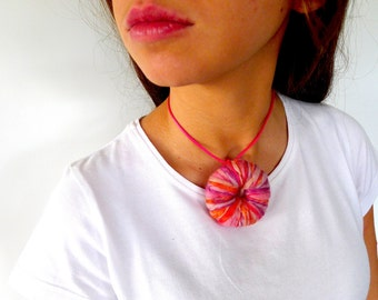 Pink choker necklace. Crochet statement necklace. Choker collar. Statement jewelry. Knitted  jewelry