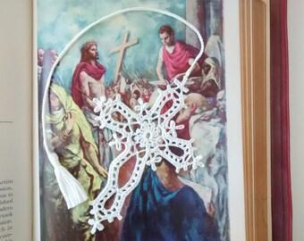 Crochet cross, Goth cross, cross bookmark, car mirror décor.