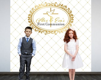 Holy Communion Photo Backdrop- Photo Booth Backdrop-First Communion Backdrop, Religious Party Backdrop, White and Gold Backdrop