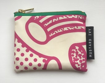 COIN PURSE Screen Printed Eco Friendly Zip Pouch Pink White Green Handmade in UK Abstract Colourful Bold Print Geometric Design