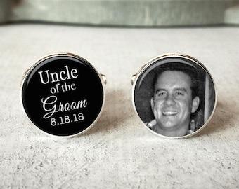 Uncle Of The Groom Cufflinks, Personalized Cufflinks, Wedding Cuff links, Custom Cufflinks, Photo Cufflinks, Wedding Keepsake