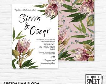 Wedding Invitation Printable, Australian, Protea, Eucalyptus Leaves, Gum Leaves, Native Flowers, Rustic, Nature, Blush, Spring, Floral