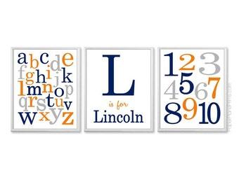 Orange and Navy Nursery Name, Baby Boy Nursery Name, ABC Wall Art, Playroom Prints, Number and Alphabet Wall Art, Personalized Boys Artwork