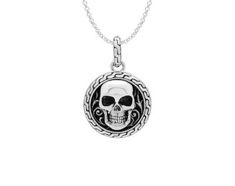 Grinning Skull Emblem Pendant Necklace