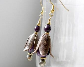 Flower Earrings Brass Snowdrop Amethyst Faceted Pyrite Purple Jade Beaded Boho Jewelry Metaphysical Healing Stones