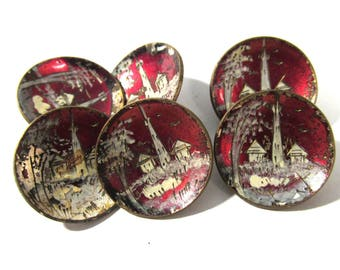 ANTIQUE Lacquer Buttons Six (6) Red Lacquer Buttons Pictorial Hand Painted Brass Red Enamel Buttons Sewing Jewelry Wedding Supplies (T206)