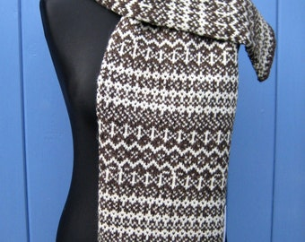 Fair Isle Scarf in Dark Brown and Natural White Handmade from Pure Shetland Wool