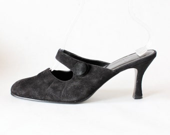 Vintage Black Suede Mary Jane Mules, size 9