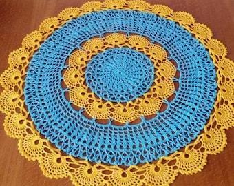 Crochet doily - Large doily - Home decor - Yellow crochet doilies - Blue crochet doily -Mother's Day - Handmade - Handmade tablecloth