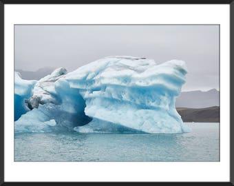 Glacier Lagoon - Iceberg - Blue Ice - Land of Fire and Ice - Iceland - Jökulsárlón - Color Photo Print - Fine Art Photography (IC06)