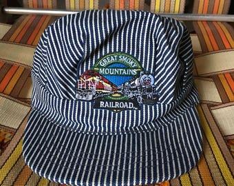 Great Smoky Mountains Railroad Train Conductor Cap - Striped Denim Train Hat - Hickory Stripe Hat - Boys Train Hat - Kids Train Hat Costume