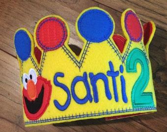 Boys Birthday Crown, Elmo Hat, Sesame Street Birthday, Elmo Crown, Elmo birthday