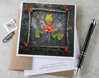 Quince Bloom Mandala ~ One 5x5 Square Note Card (with envelope, blank inside, no message)