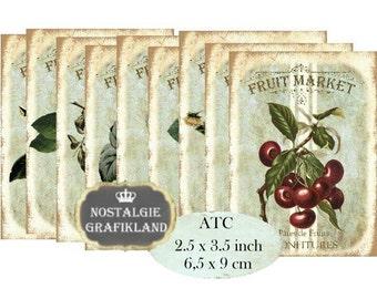 Fruit Market Instant Download ATC digital collage sheet S116 jam fruit strawberries cherries confiture
