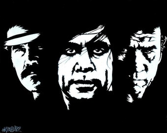 8.5x11 No Country for Old Men Stencil Art Print