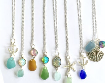 Seaglass sparkle necklaces - choice of styles - summer fashion - beach jewelry