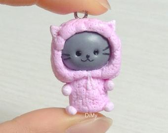 Cute Kitty in Pink Alpaca Onesie