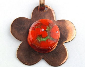 Orange Morning Glory Lampwork Glass Bead Pendant by Chase Designs