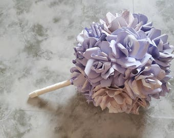 Lilac and cream patterned wedding bouquet with handmade paper roses