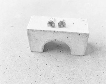 Benchmark Arch Studs / sterling silver / small architectural  post earrings