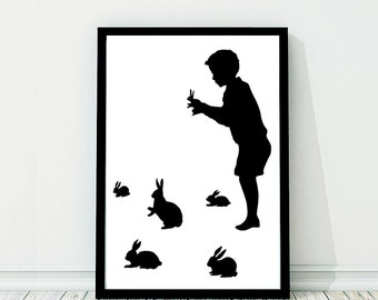 Large Rabbit Shadow Puppet Silhouette Large Print Black and White Rabbits Bunny Bunnies Hare Victorian Unusual Nursery