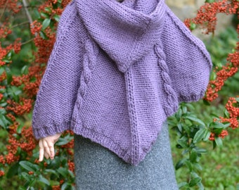 BABY KNITTING PATTERNS - poncho - cabled poncho - pdf instant download