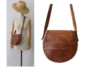 1970 tooled leather Bag / bohemian bag/ vintage tooled leather bag/ hippy bag