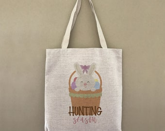 Custom Tote Bag Easter Bunny Hunting Season Customizable Personalized Gift For Her Gift For Him Shopping Bulk Hippity Hoppity Easter Basket