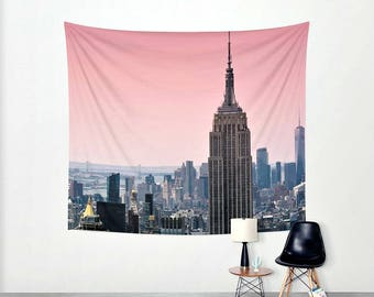 Blushing Sunrise over New York City - 68x80 -  Dorm Walls - Apartment Walls - Travel Photography - Affordable College Decor - Tapestry