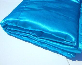 Aqua Satin Blanket Throw, Large Luxurious Accent Blanket, Living room Accent, Bedroom throw blanket