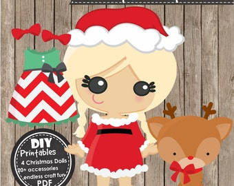 CHRISTMAS PAPER DOLLS - Instant Download pdf - Craft Projects, Party Decorations, Clipart, Holiday Activities, Scrapbooking and Papercraft