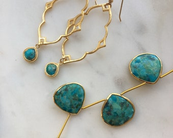 Turquoise Moroccan Earrings / Gold Earrings / Turquoise Earrings
