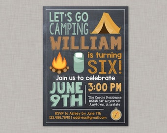 Camping Birthday Invitation, Camping Party, Camping Birthday, Camping Invitation