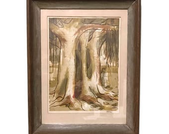 Vintage 1960s Modernist Serigraph Print, signed C Henry, BANYAN TREE, children hiding amongst the trees