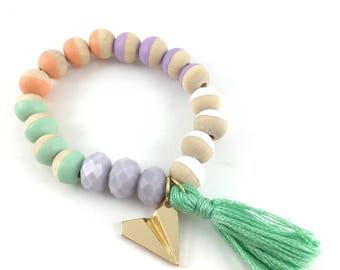 Paper Airplane Charm Bracelet, Tassel, Hand Painted Beads, Girl Gifts, Beads