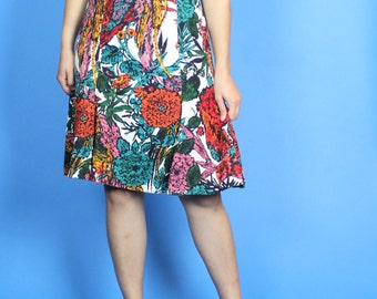 1960s. bird and floral print. vibrant. bright. teal, pink, red, and white wiggle dress. small