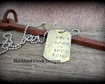 Longitude Latitude Necklace- Coordinates Necklace-Hand Stamped Brass Dog Tag Necklace-Rustic- Antiqued