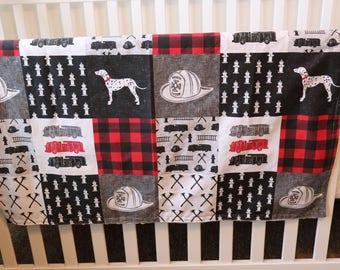 Firefighter Patchwork Print Minky Blanket or Quilt