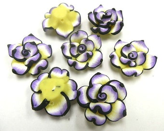 6 Fimo Polymer Clay White Black Violet Yellow Flower Rose Fimo Beads 25mm