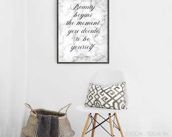 Coco Chanel quote on marble texture | Beauty begins the moment large art print, printable poster | Wall decor with sayings | 5 sizes