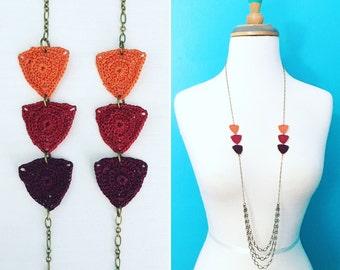 Big Bucktown Crochet Necklace in Harvest Orange / Burgundy / Terra Cotta, Triangles Statement Necklace, Geometric Jewelry, Gift for Her