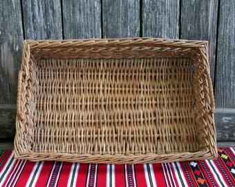 Beautiful Vintage Rectangle Wicker Basket