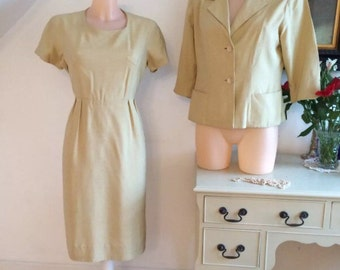 1950s Suit Boxy Jacket Wiggle Dress Raw Linen French Chic MOD Couture Retro Wedding Size 14